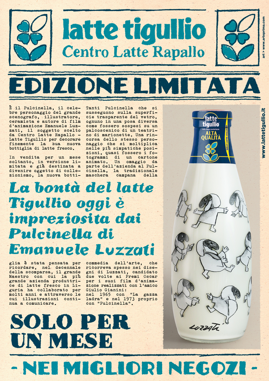 Locandina Bottiglia Pulcinella Luzzati Per Invio